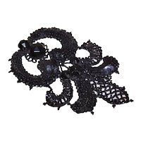 Antique Victorian Black Sequin Glass Bead Applique | Fleur de Lis Design