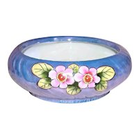 Art Deco Made in Japan Blue/Pink Floral Lustreware Bowl
