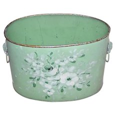 French Shabby Chic Handpainted Tole Caddy - Oval Container with White Flowers