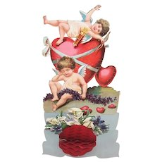 Unused Antique Edwardian Fold Down Honeycomb Valentines Day Card with Cupids | Printed in Germany