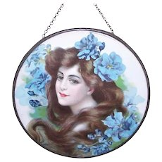 Antique Edwardian Flue Cover | Art Nouveau Lady with Blue Florals | Orchids Snap Dragons and More