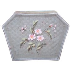 Antique Edwardian Handpainted Gauze and Padded Fabric Box - Shabby Chic Blue with Pink Florals - French Maker