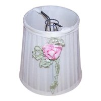 Ladies Boudoir Lampshade/Lamp Shade - Cream with Pink/Mint Green Handmade French Revival Ribbonwork Rose Applique