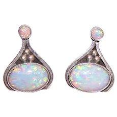 Sterling Silver Lab Created Opal Cab Pierced Earrings - Op Art Styling