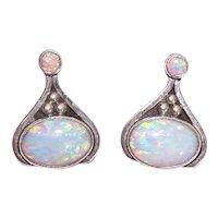 Sterling Silver Opal Cab Pierced Earrings - Op Art Styling