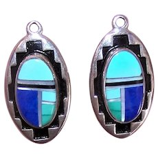 Native American Sterling Silver Stone Inlay Earrings Drops - Just Add Findings