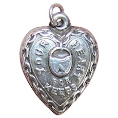 Sterling Silver Puffy Heart Charm - Your Heart for Keeps