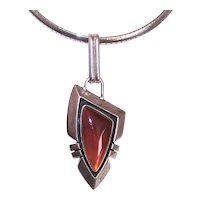 MC Gorman Sterling Silver Carnelian Pendant - Native American Indian Inspired Arrowhead Design