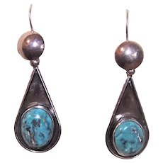 Native American Sterling Silver Natural Turquoise Drop Earrings Pierced Earrings