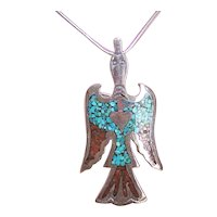 Signed Ortega HMIJ Native American Sterling Silver Crushed Turquoise & Red Coral Thunderbird Pin/Pendant Combo