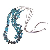 Native American Sterling Silver (Liquid Silver) and Natural Turquoise Nugget 2 Strand Necklace | Hook and Eye Clasp