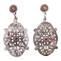 Medieval Look Sterling Silver Garnet Drop Earrings - Screwback Earrings