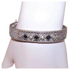 Art Deco 1930s Rhodium & Rhinestone Paste Filigree Cuff Bracelet Hinged Bangle Bracelet