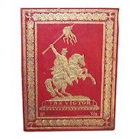 Antique Paper Fabric or Ribbon Label - Dark Red and Gold - The Victor - Statue of Knight on Horseback