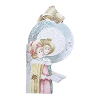 Antique Victorian Die Cut - 2 Young Girls in Church with Hymn Book - Pastel Colors
