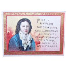 Antique Mogul Egyptian Cigarettes Card | Toast Series 301 to 425 | Here's to Champagne