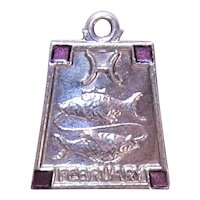 Sterling Silver Enamel Charm - Zodiac Sign Pisces the Fish February Birthday