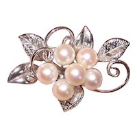 Japan Export Sterling Silver 7mm Cultured Pearl Pin - Cluster of Florals