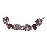 Art Nouveau Revival Sterling Silver Garnet Carbuncle Link Bracelet of Florals