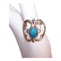 Sand Cast Native American Sterling Silver Turquoise Ring - Open Heart Design