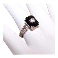 Art Deco Uncas Sterling Silver Black Glass Rhinestone Cracker Jack Ring