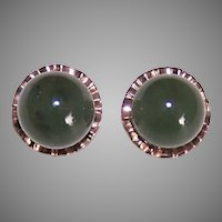 Retro 14K Rose Gold 9mm Nephrite Jade Earrings