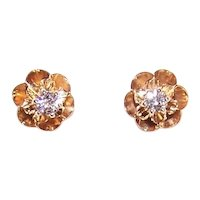14K Gold .12CT TW Diamond Buttercup Setting Pierced Earrings - Posts with Nuts