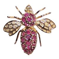 Vintage Modernist 14K Gold .50CT TW Ruby Insect - Honey Bee - Moth Pin/Brooch