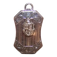 Vintage Polished Chrome Masonic or Fraternity/Sorority Locket Pendant