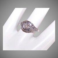 Art Deco 18K Gold .25CT Diamond Engagement Ring
