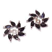 Sterling Silver Earring Jackets with 1.12CT TW Dark Blue Topaz