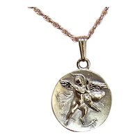 Greek Revival Sterling Silver Vermeil Charm/Pendant - Hercules Wrestling a Heron