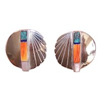 Native American Sterling Silver Stone/Shell Inlay Earrings - Posts with Nuts - Pierced Earrings