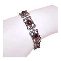 Florenza Costume Bracelet - Silver Tone Metal with Red Garnet Glass Cabs