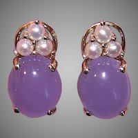 14K Gold Cultured Pearl Lavender Jade Jadeite Earrings