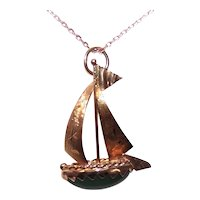 Made in Italy Italian 14K Gold Charm or Pendant -  Sail Boat Sailboat