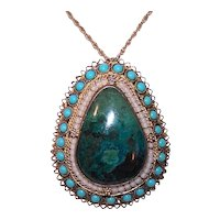 Sterling Silver Vermeil Chrysocolla Glass Bead Pendant Pin Combo | Middle East Origin