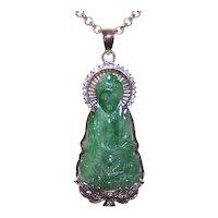 Asian 18K Gold Carved Jade Buddha Pendant