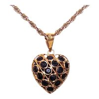 Reversible 18K Gold 1CT TW Blue Sapphire Puffy Heart Charm or Pendant