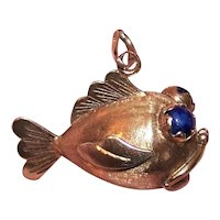 "Made in Italy Italian 14K Gold Lapis Lazuli 'Open Mouthed"" Fish Charm or Pendant 