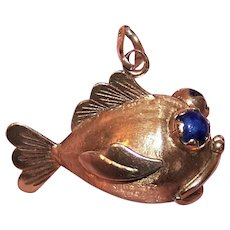 """Made in Italy Italian 14K Gold Lapis Lazuli 'Open Mouthed"""" Fish Charm or Pendant 