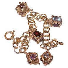 Made in Italy Italian 18K Gold Multi-Gemstone Charm Bracelet with 5 Charms | 37.1 grams