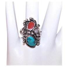 Native American Navajo Sterling Silver Turquoise & Coral Ring