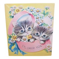 Unused 1950s Get Well Card with Pair of Grey Kittens - To Cheer You
