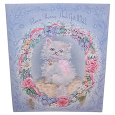 Unused 1960s Get Well Greeting Card - White Kitten in Wreath of Flowers - With Envelope