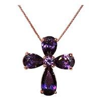 Ross Simons Sterling Silver Vermeil Cross Pendant Necklace - Amethyst Cubic Zirconia CZ Stones