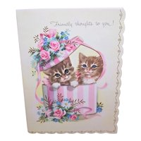 Unused 1950s 'Thinking of You' Card with Pair of Brown Kittens - Friendly Thoughts to You