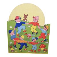 Unused 1930s Happy Birthday Greeting Card - Elves at Play - Printed in England