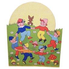 Unused 1930s Happy Birthday Greeting Card - Elves at Play - Printed in England