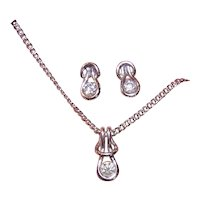 14K Gold .50CT TW Diamond Matched Set - White Gold Pendant with Matching Pierced Earrings (Studs)